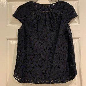 J.Crew navy and black lace blouse